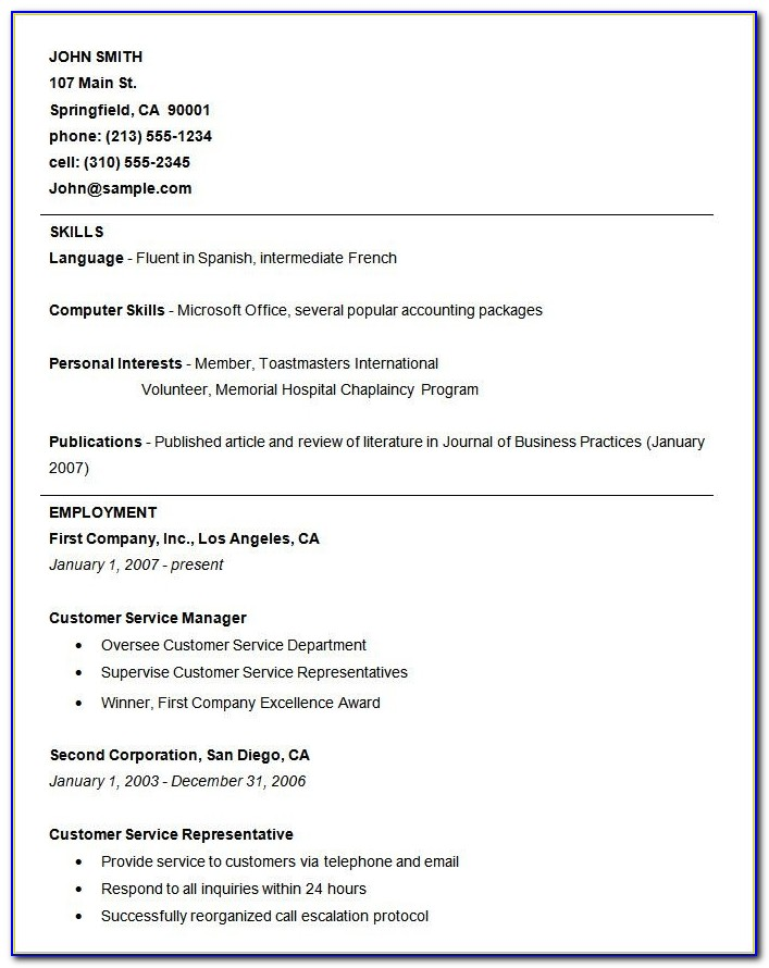 Basic Resume Template – 51+ Free Samples, Examples, Format Within Free Basic Resume Templates Microsoft Word