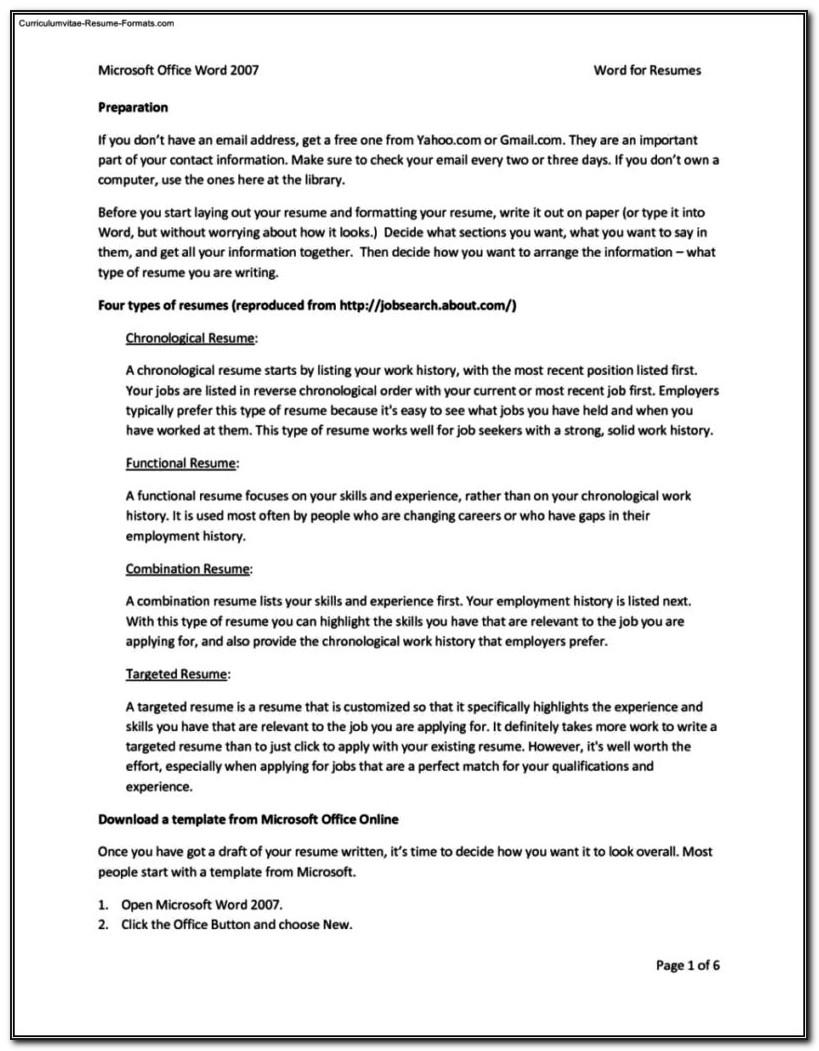 Windows Office Resume Templates