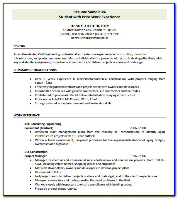 Free Resume Templates For Construction Project Manager
