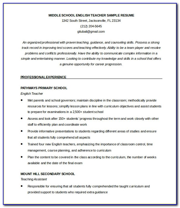 51 Teacher Resume Templates Free Sample Example Format English Resume Template