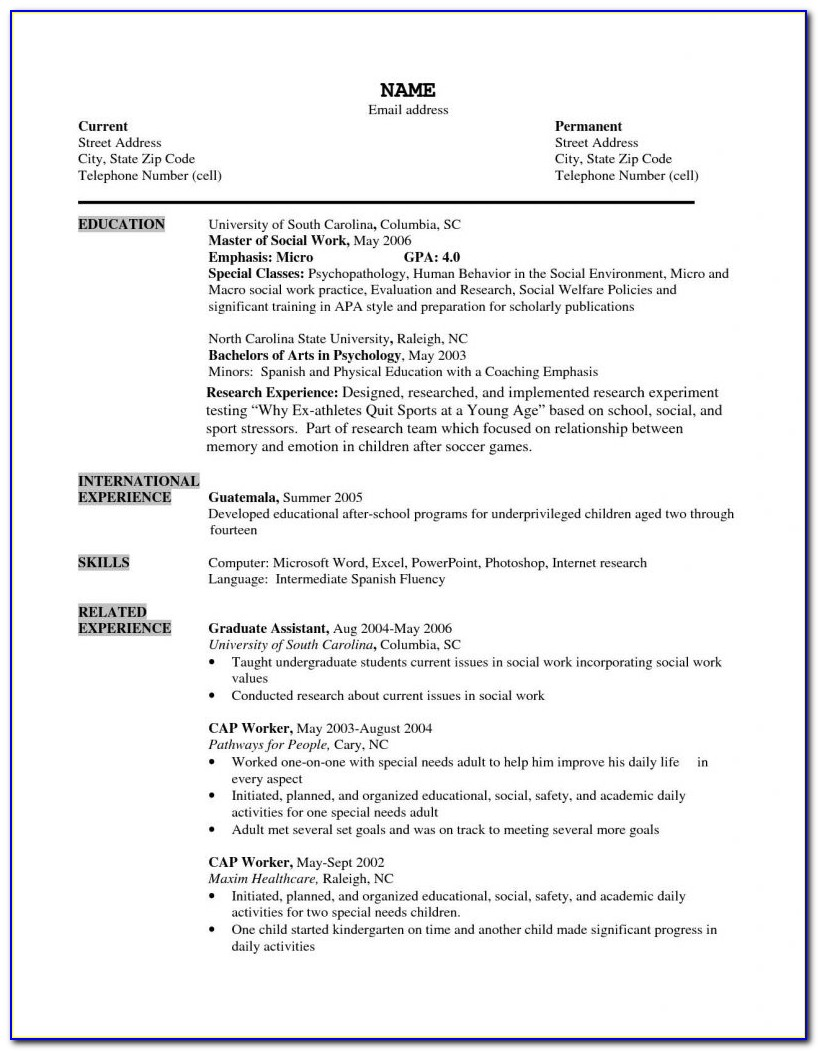 Free Resume Templates For Older Workers