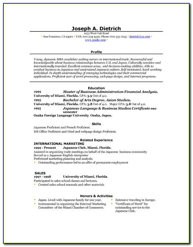 Free Resume Templates From Microsoft Word
