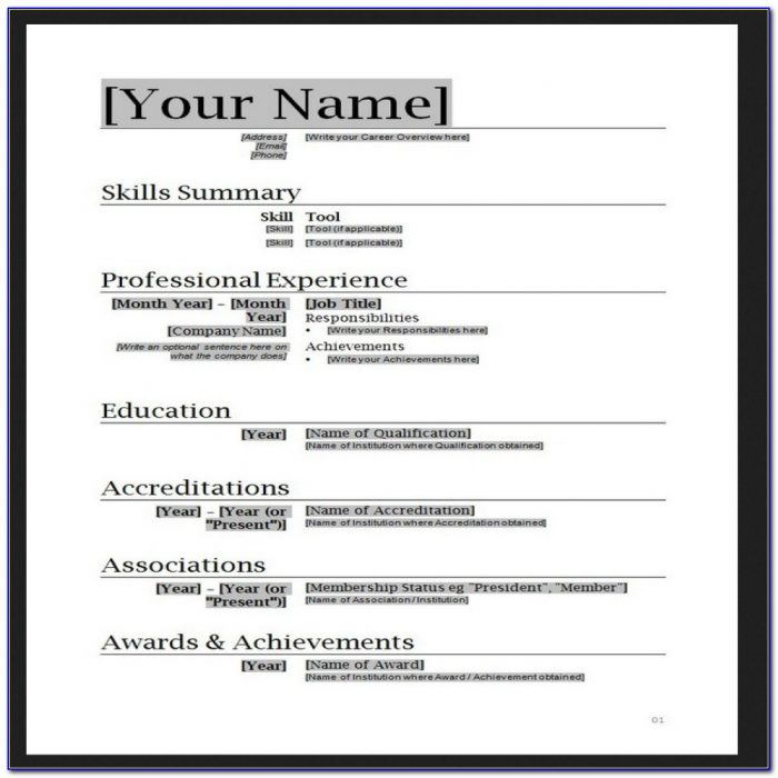 Free Resume Templates Ms Word