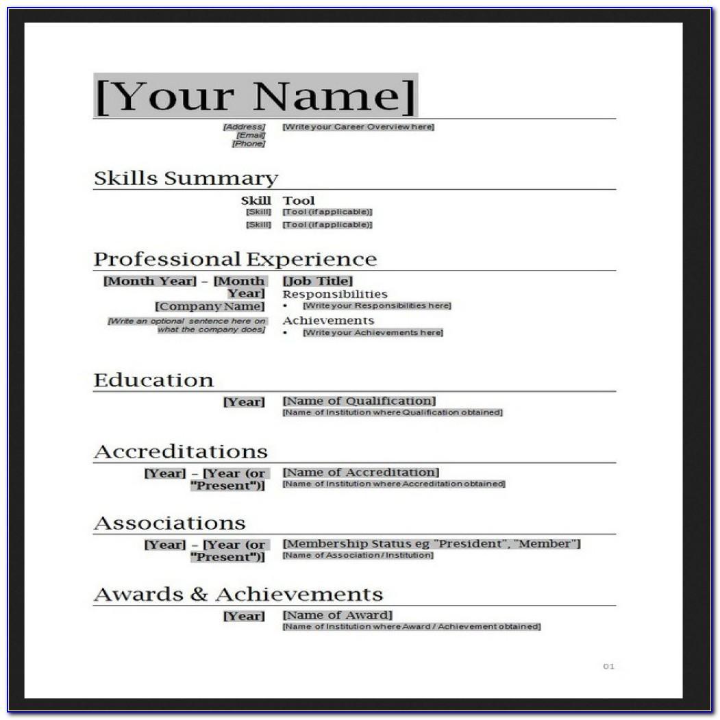 Free Resume Templates Ms Word