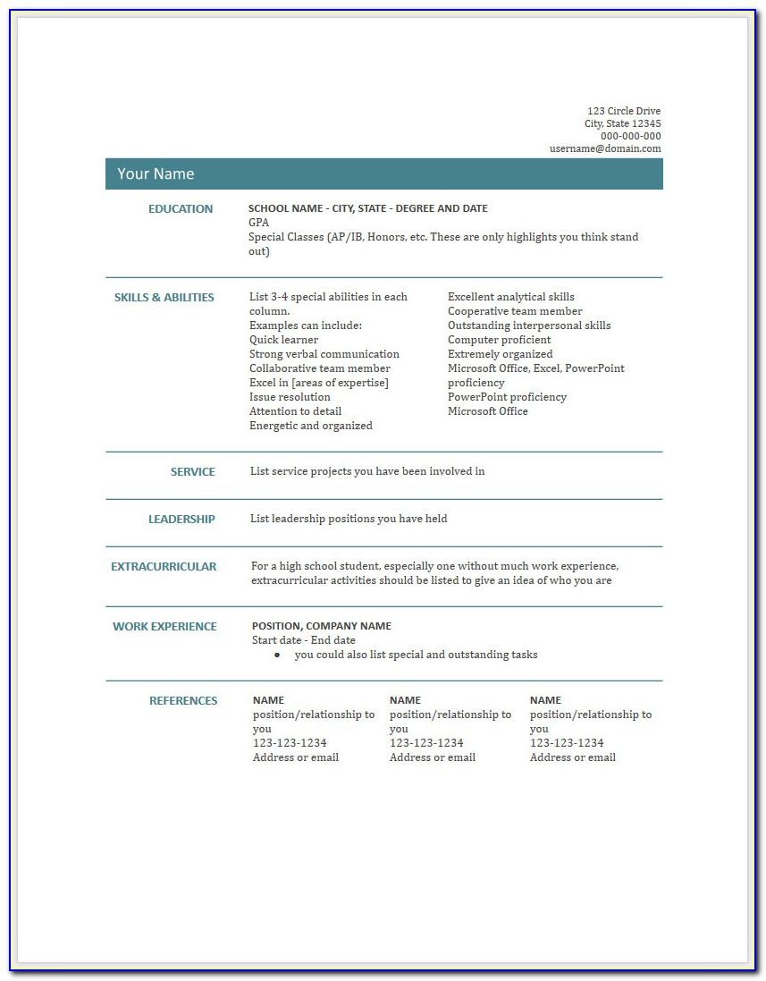 Free Resume Word Document Templates