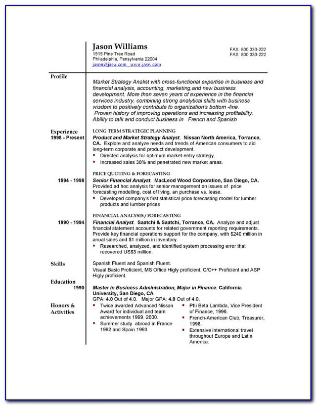 Free Resumes Examples
