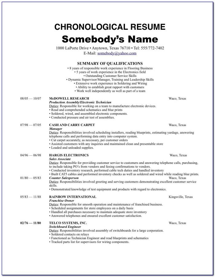 Free Sample Chronological Resume Format
