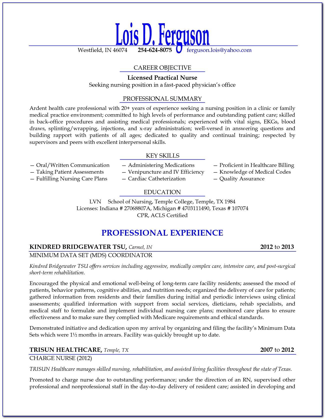 Free Sample Licensed Practical Nurse Resume