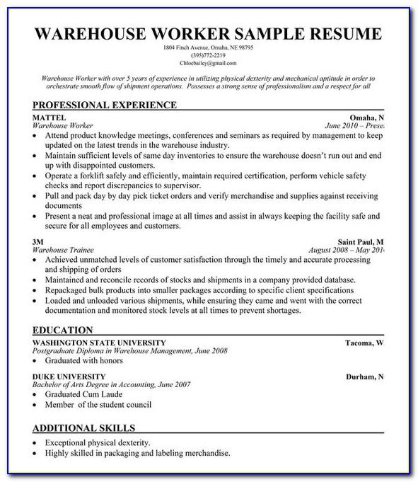 Free Sample Warehouse Resume Template