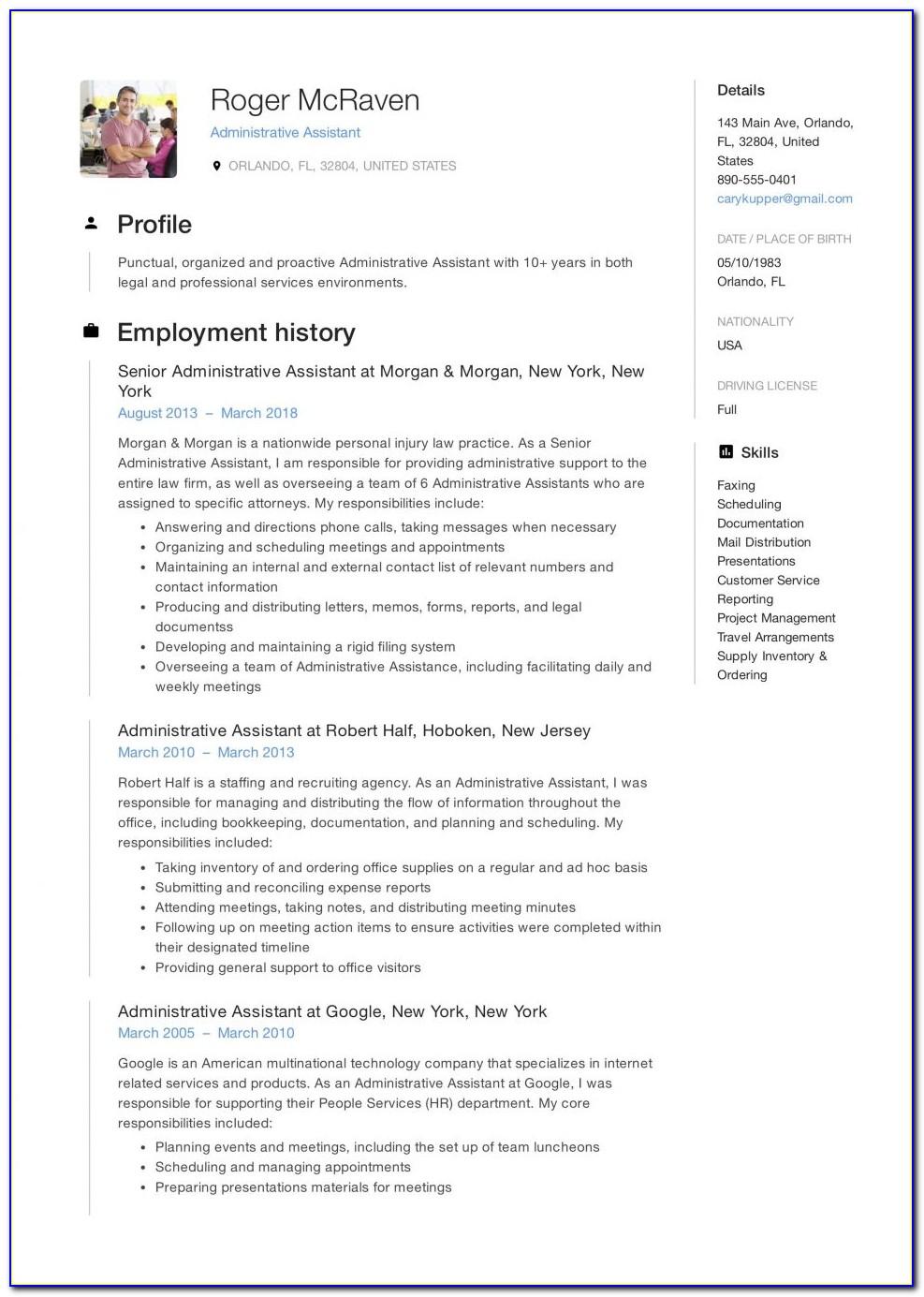 Free Senior Executive Resume Templates
