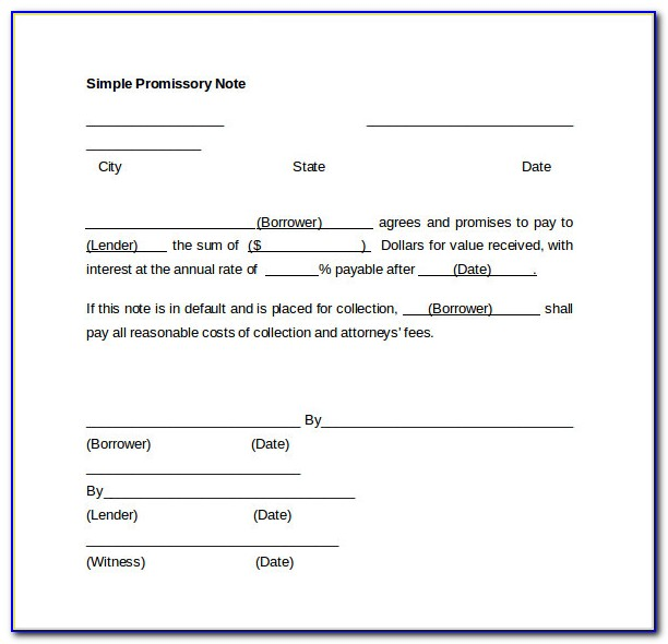 Free Simple Promissory Note Template