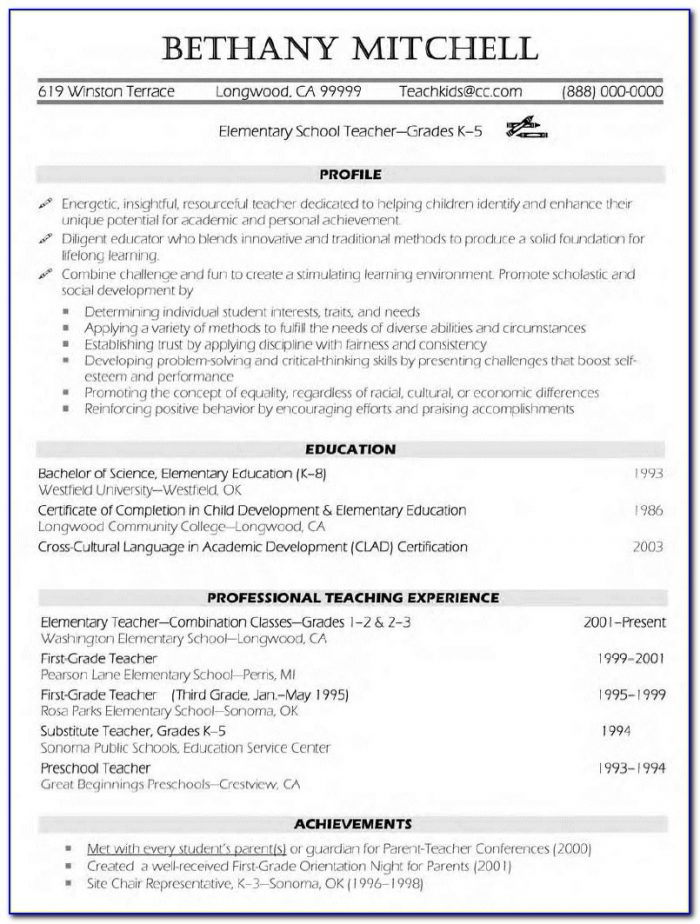 Free Teaching Resume Templates Microsoft Word