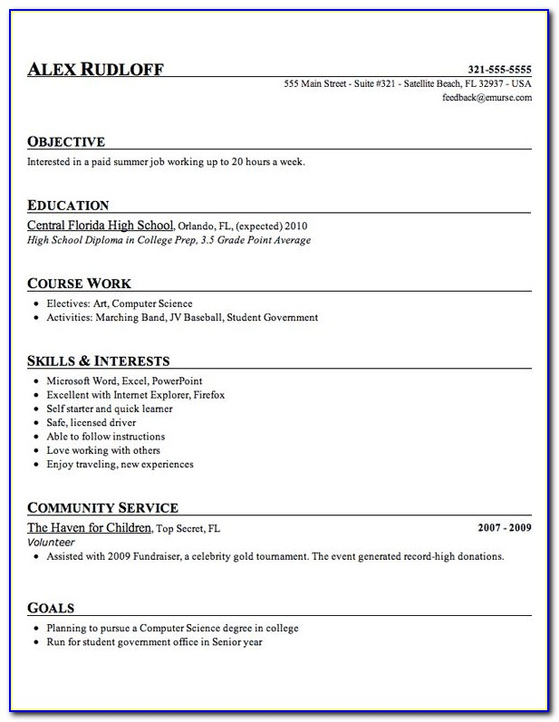Free Template For High School Student Resume
