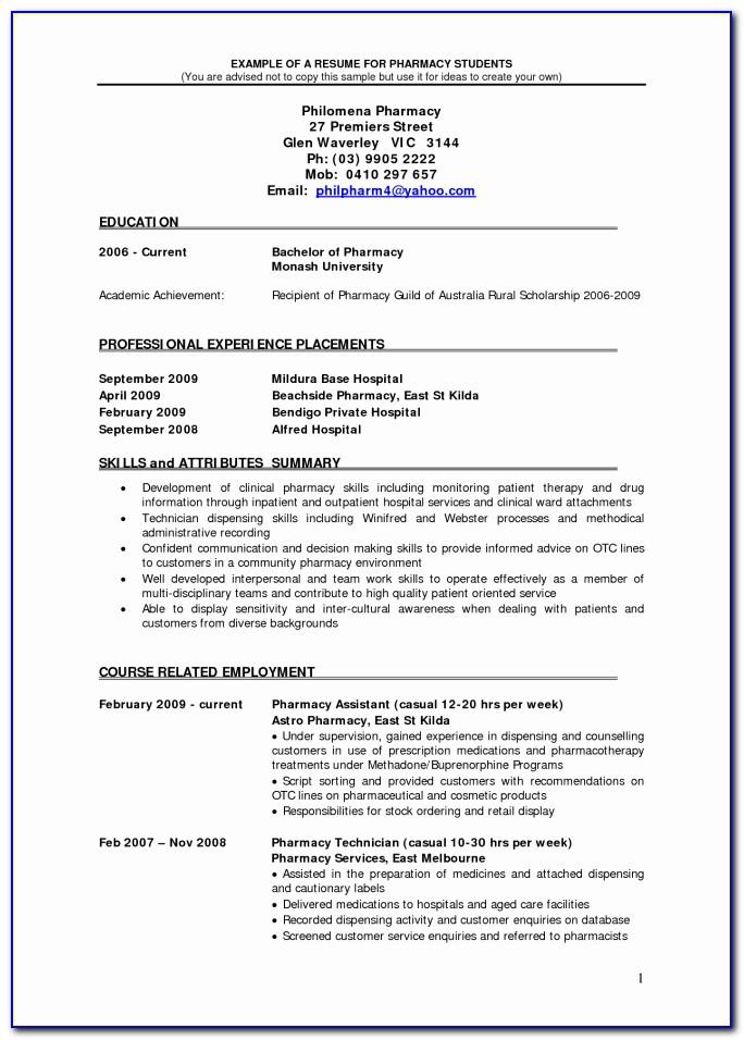 Fresher Pharmacist Resume Pdf