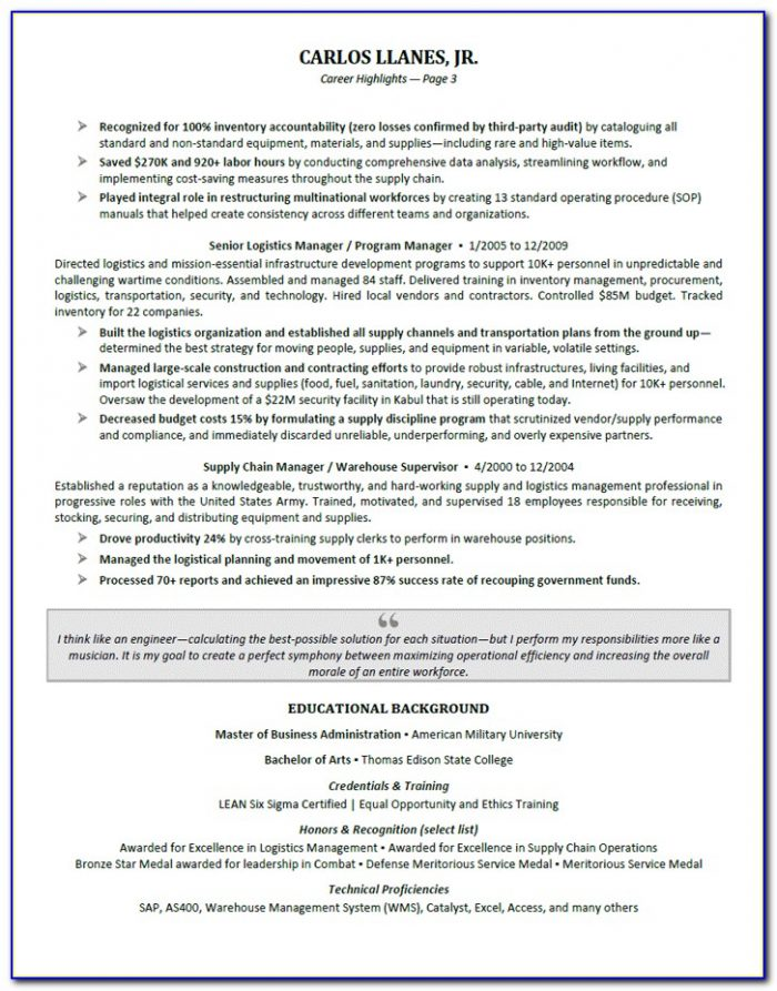 Functional Resume Examples For Executives