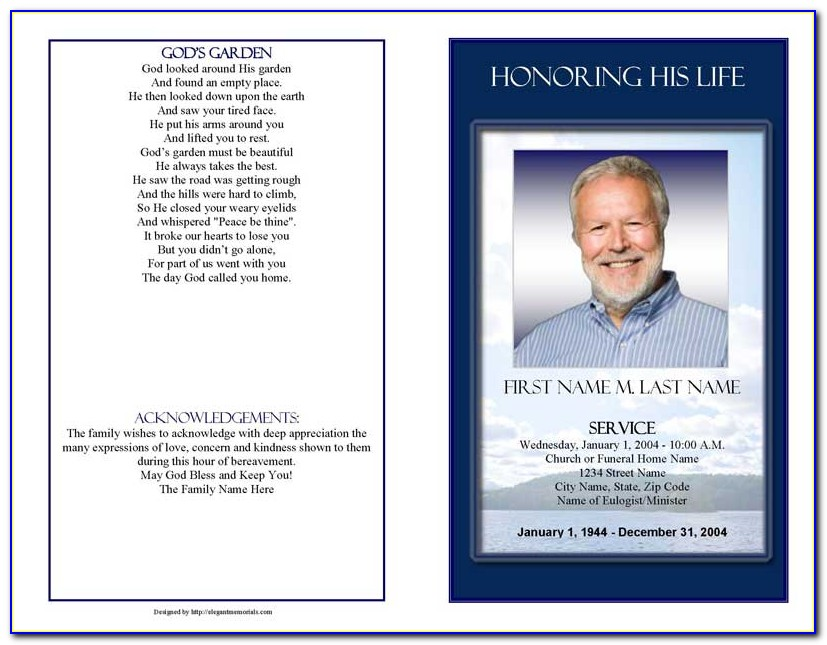 Funeral Program Template Free Australia