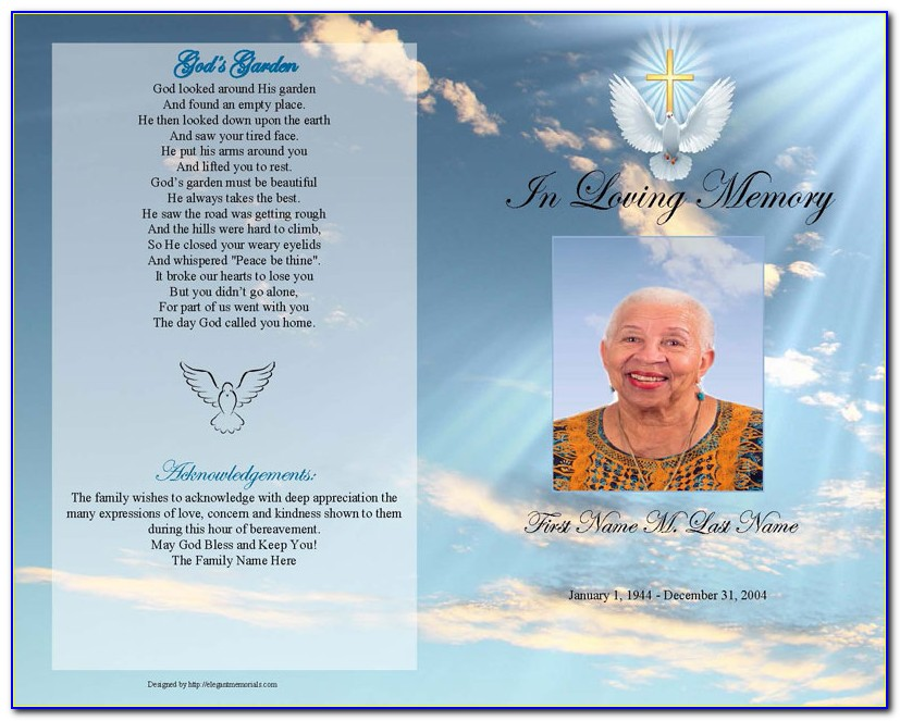Funeral Program Template Free Publisher