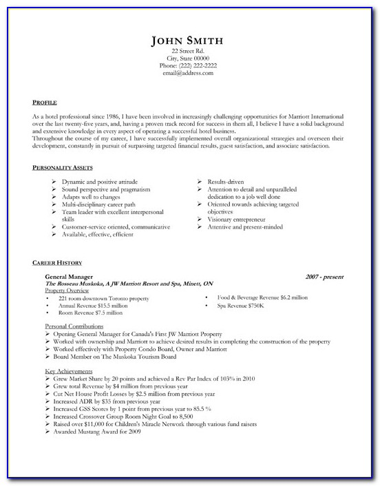 Generic Resume Template Download
