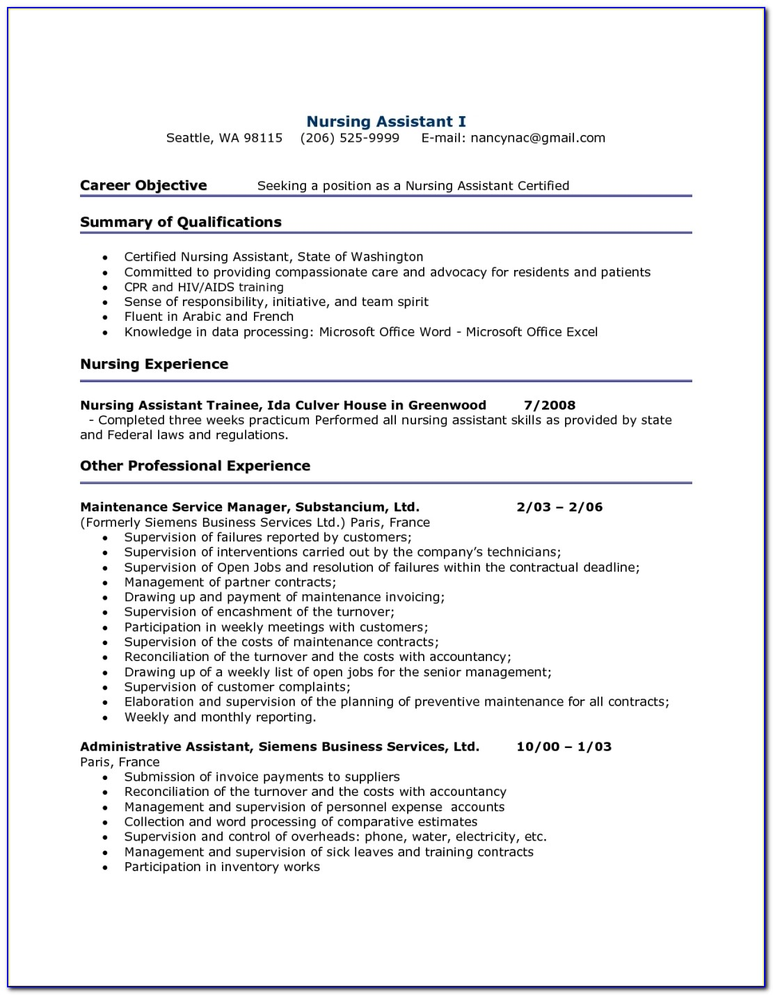 Cna Resume With No Experience | Best Business Template Regarding Cna Resume No Experience Template