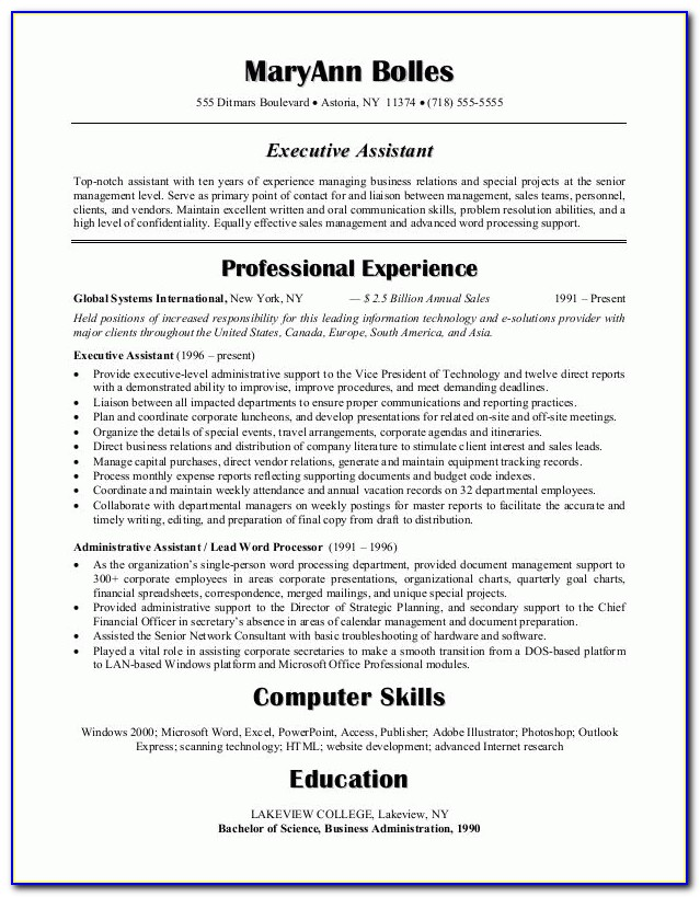 Good Resume Objective For Executive Assistant