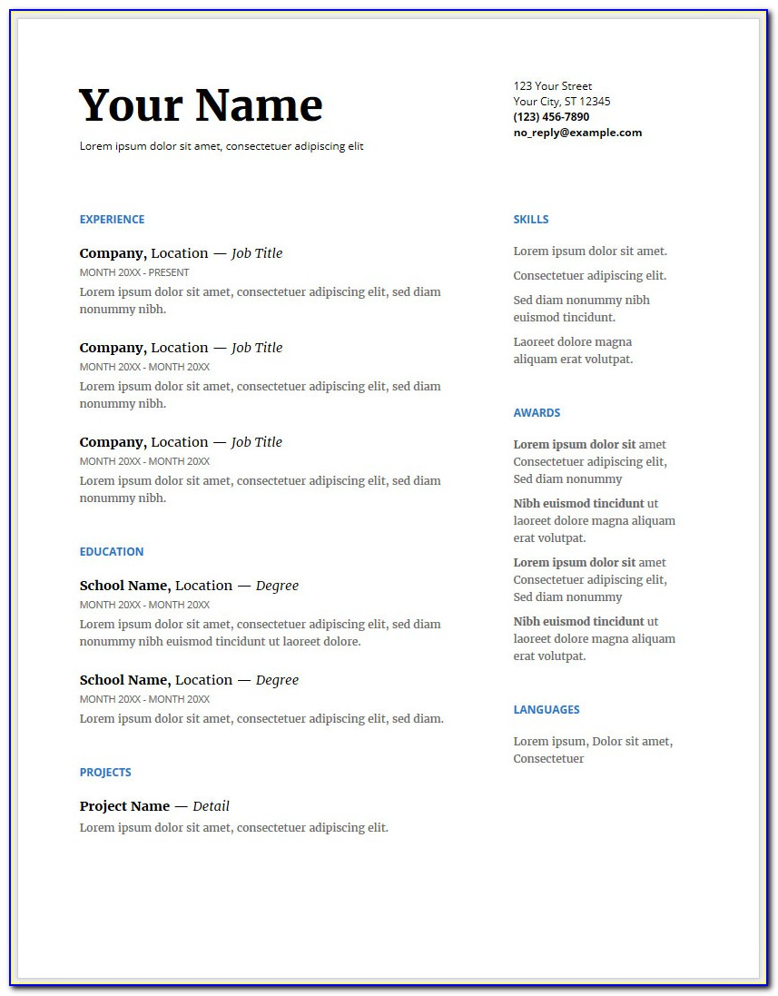 Google Docs Free Resume Templates