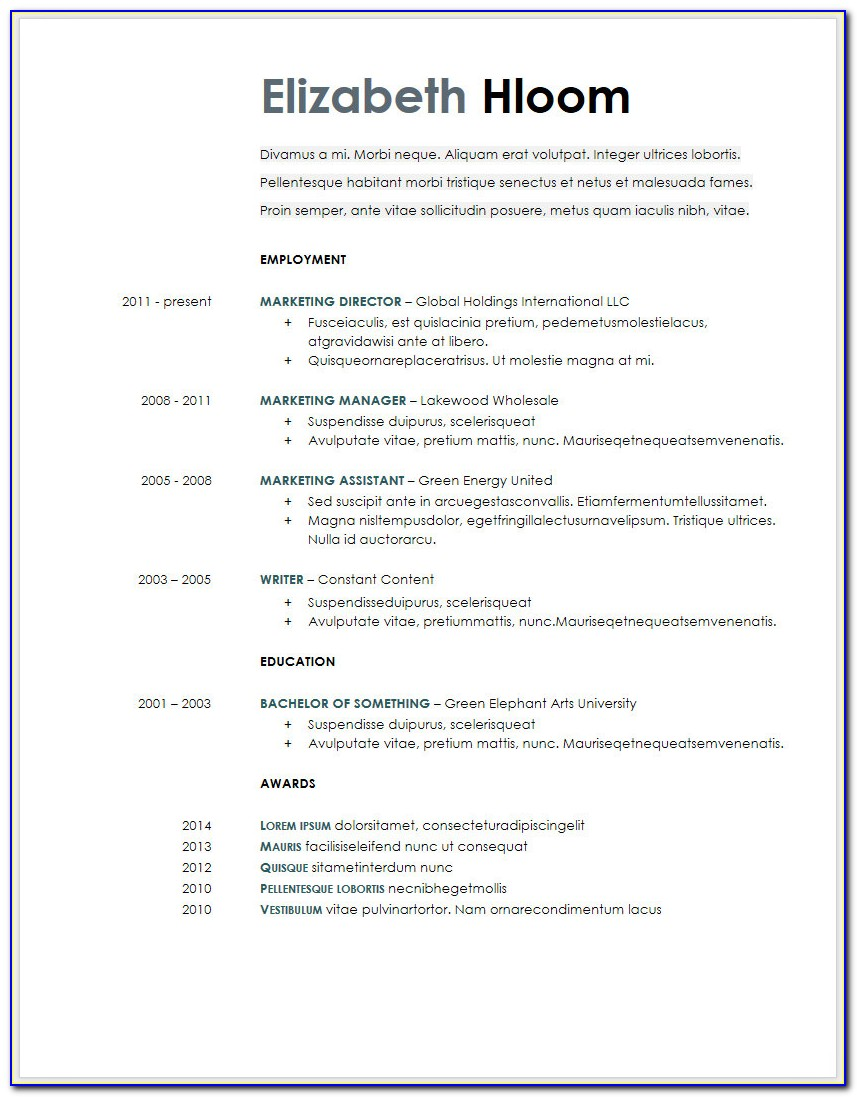 Google Resume Templates Free Download
