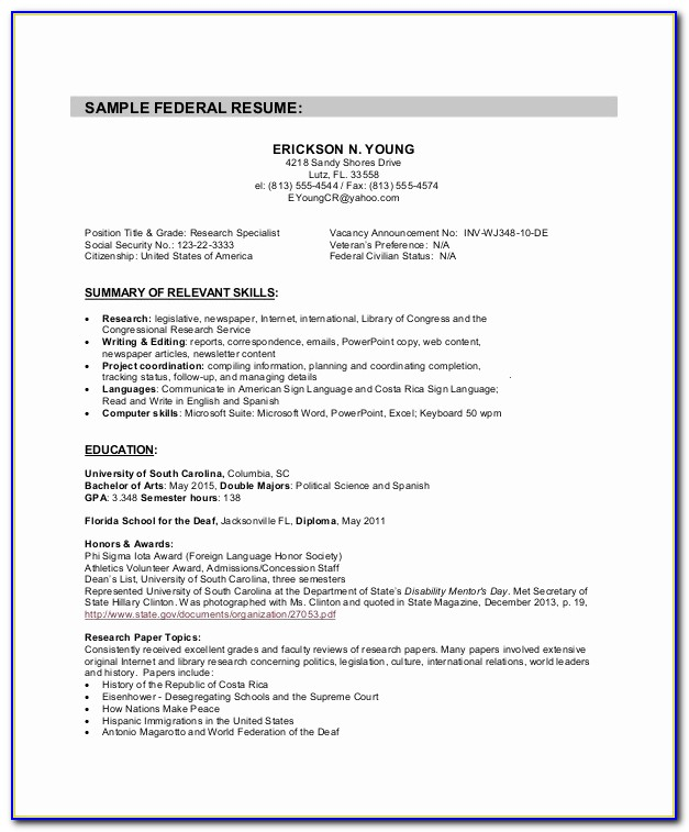 Of Government Resume Writing