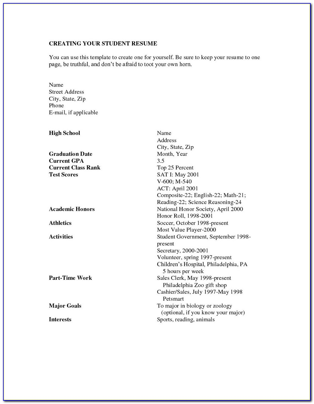 High School Resume Builder For College