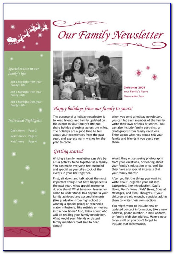 Holiday Newsletter Templates For Mac