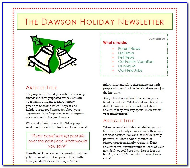 Holiday Newsletter Templates Free Word