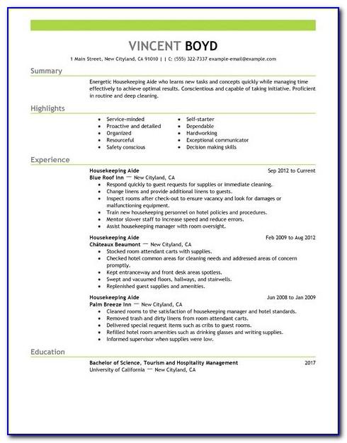 Housekeeping Resume Template Free