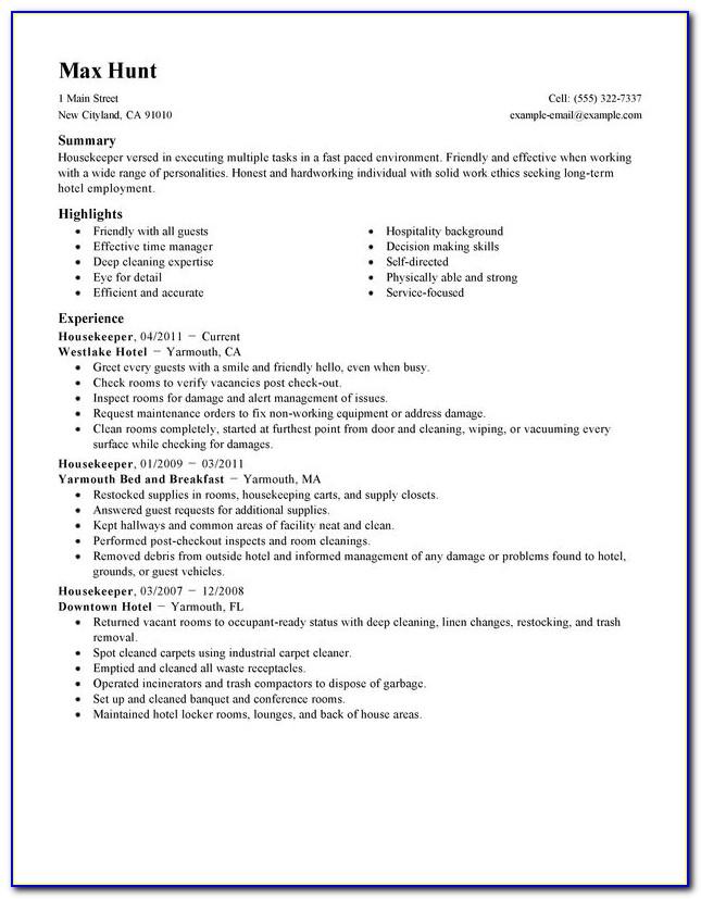 Housekeeping Resume Templates Sample
