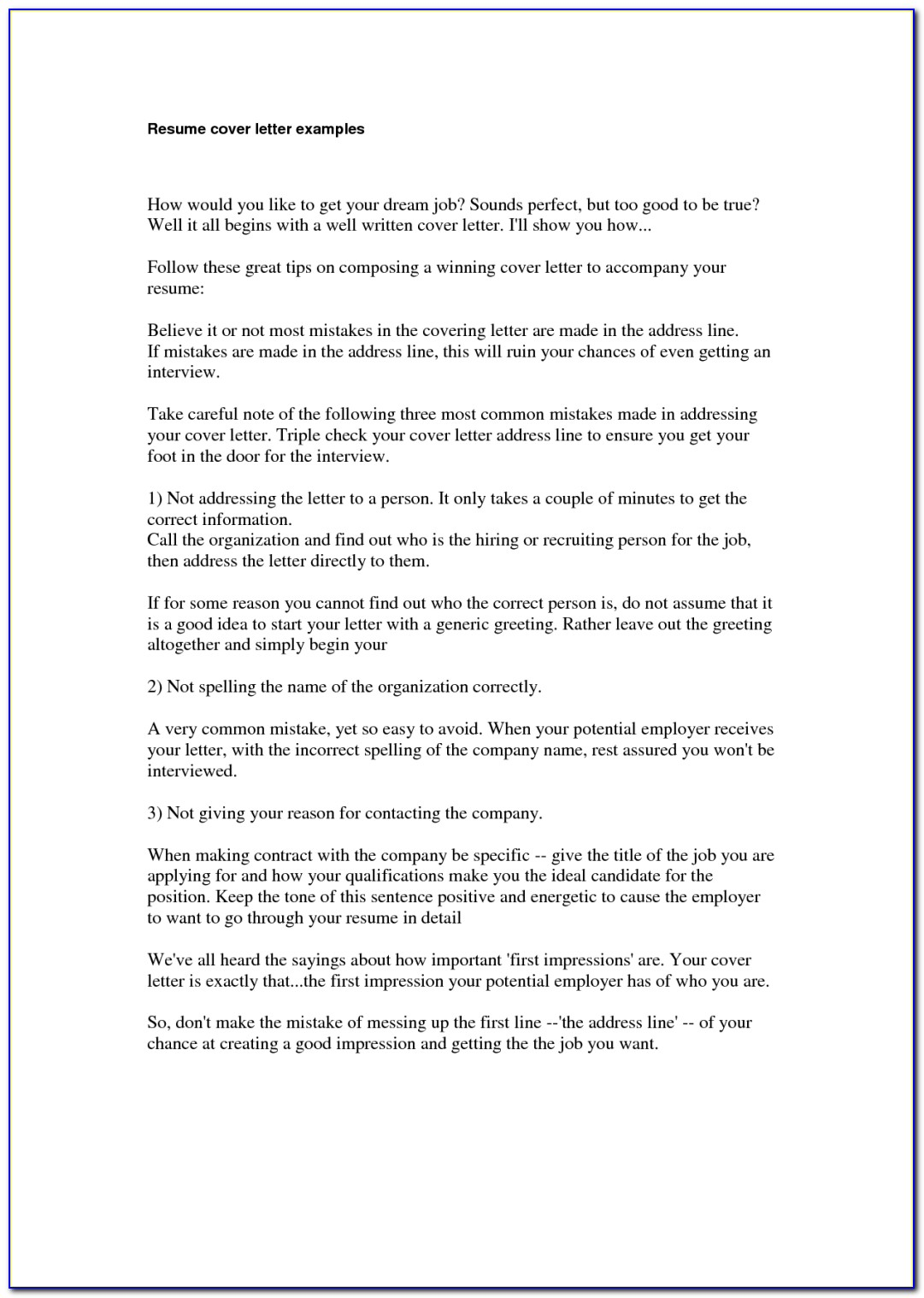 Resume 5 Example Of A Good Cover Letter Transvall In An Example Of Within How To Make The Perfect Resume And Cover Letter