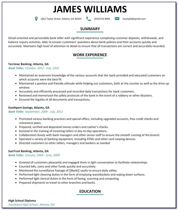 How To Make A Resume For Bank Teller Job