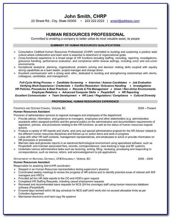Hr Resume Format Free Download