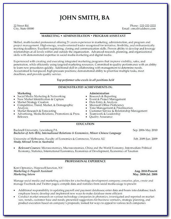 Hr Resume Format Word File