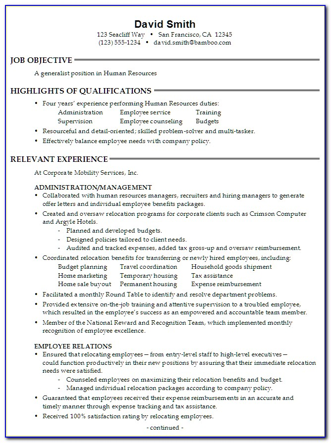 Human Resources Resume Examples Free