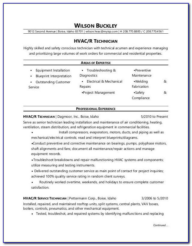 Hvac Installer Resume Template
