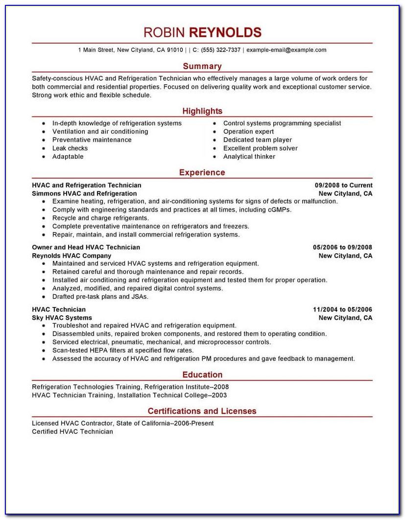 Hvac Service Manager Resume Sample