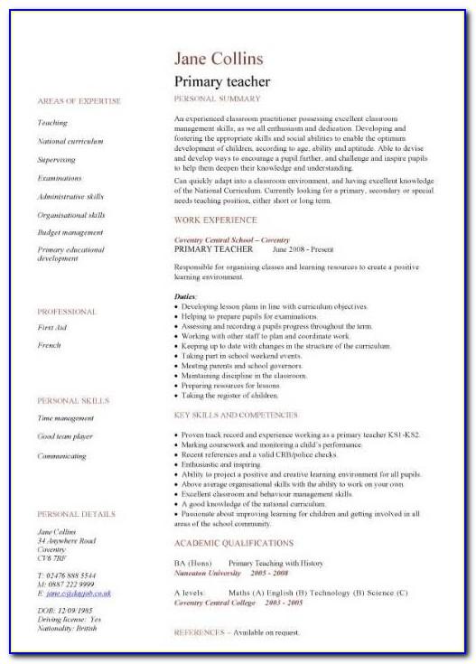 Primary Teacher Cv Sample, School, Teaching, Classroom, Children In Resume Format For Teachers In India