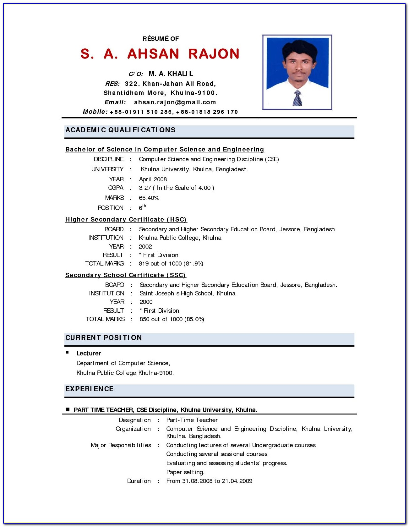Indian Teacher Resume Format Download
