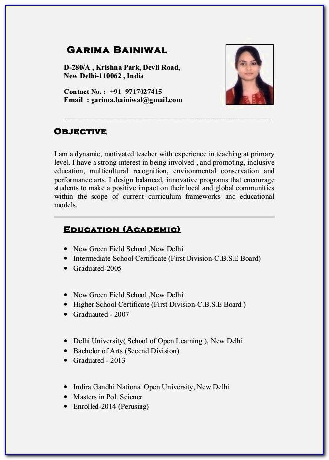 Science Teacher Resume India
