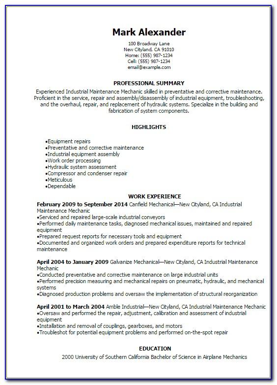 Industrial Maintenance Resume Format