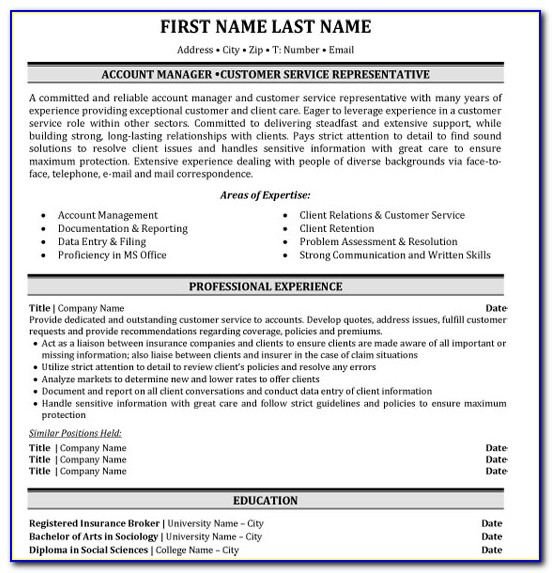 Insurance Broker Resume Template