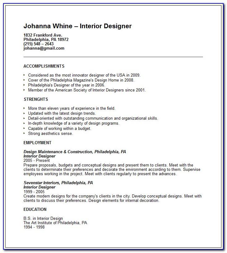 Interior Designer Resume Sample Pdf