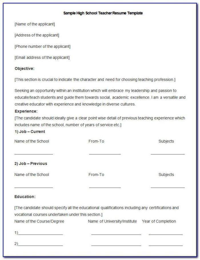 51 Teacher Resume Templates Free Sample Example Format Teacher Resume Doc Teacher Resume Doc
