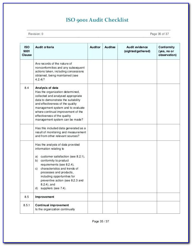 Iso 9001 Audit Checklist Sample