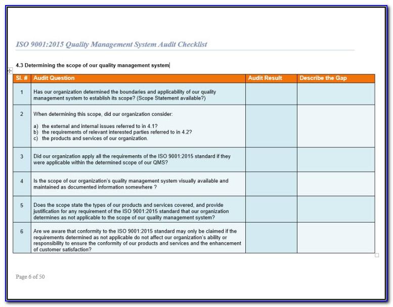 Iso 9001 Internal Audit Checklist Sample