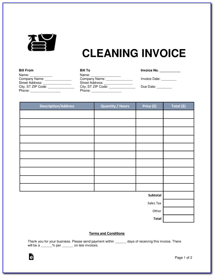 Janitorial Services Invoice Template Free