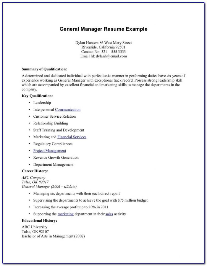 Job Resume Format Free Download